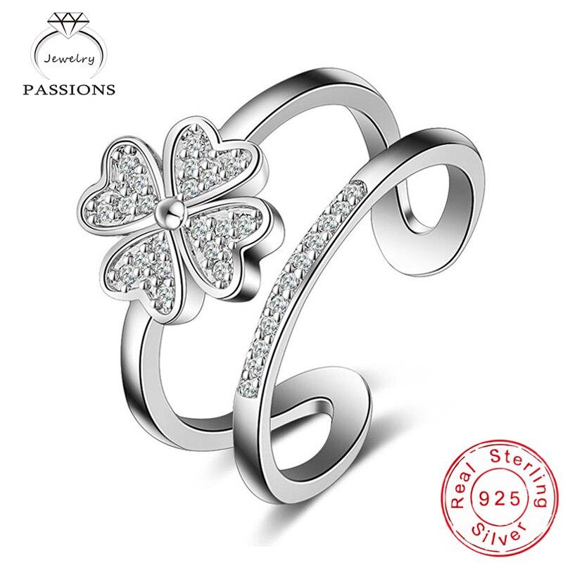 Nagykereskedelmi ékszerek 925 ezüst lemez állítható virágok gyűrű divatos dupla réteg szerencsés lóhere CZ gyűrű lány és hölgy gyűrűk ajándék