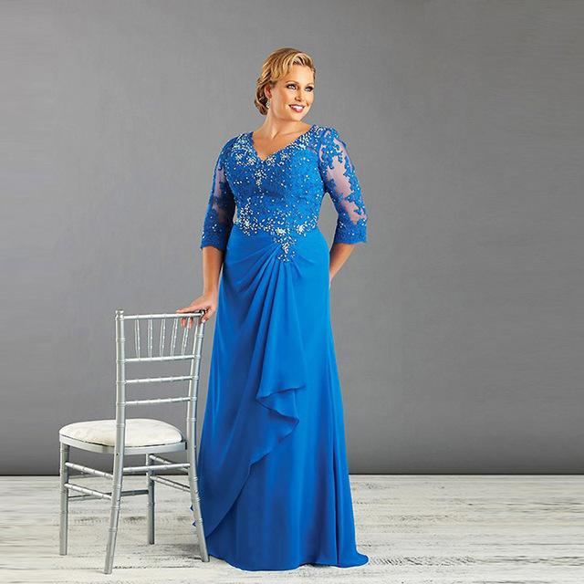 Plus Size Mãe Do Vestido Da Noiva Com Manga Comprida Azul Chiffon Mulheres Formal Vestido de festa Vestido Feito Sob Medida