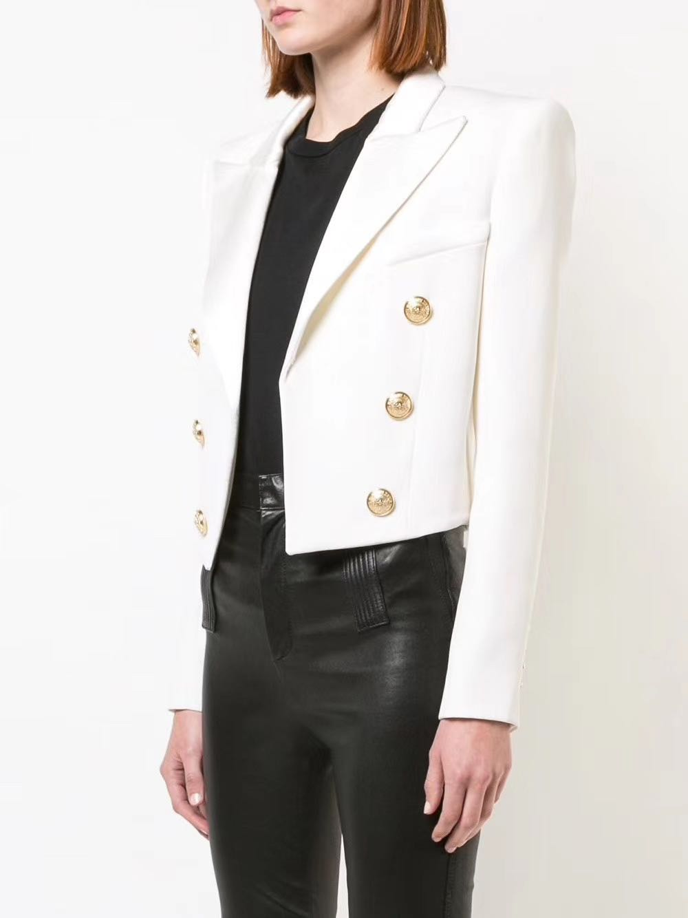 Classic Black White Short Cropped Blazer Gold Double Breasted Buttons Long Sleeved HIGH QUALITY WOMAN