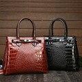 Большая женская роскошная сумка с крокодиловым узором, женская сумка из кожи аллигатора, модная женская сумка на плечо 2019, черная, коричневая, большая ВМЕСТИТЕЛЬНОСТЬ - фото