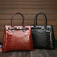 Handbag Big Women's Luxury Crocodile Pattern Bag Ladies Alligator Leather Fashion Shoulder Women 2019 Black Brown Large Capacity