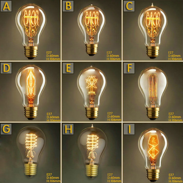 A19 Lovely Bulb E27 Incandescent Vintage Edison Light Bulb,Household Bar Coffee Shop Hotel Dress Shop Retro Classic Light Bulb