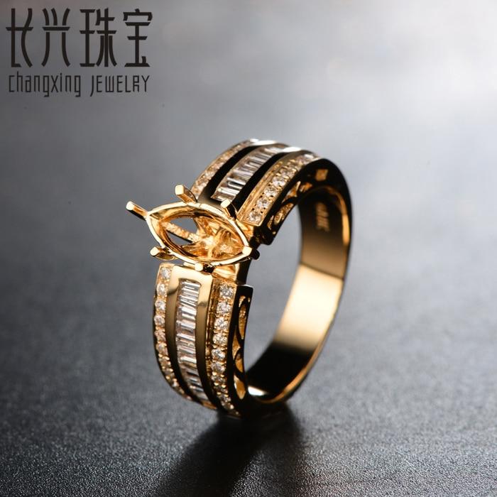 14K Yellow Gold 5x10mm Marquise Diamond Semi Mount Engagement