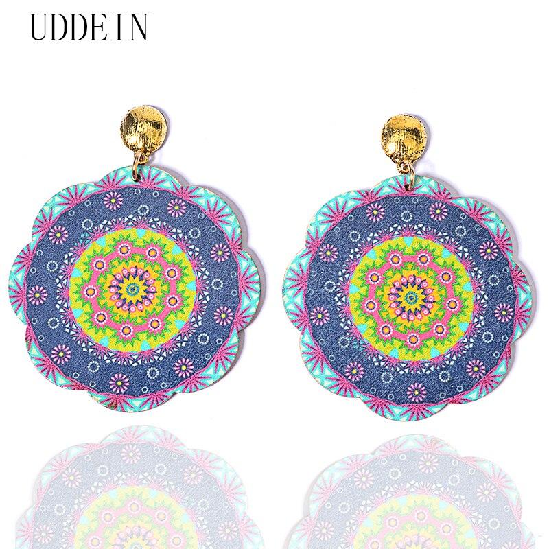 UDDEIN New Bohemian Earrings Big Round Flower Wood Statement Dangle Earrings For Women Party Jewelry Wholesale Fashion Earrings
