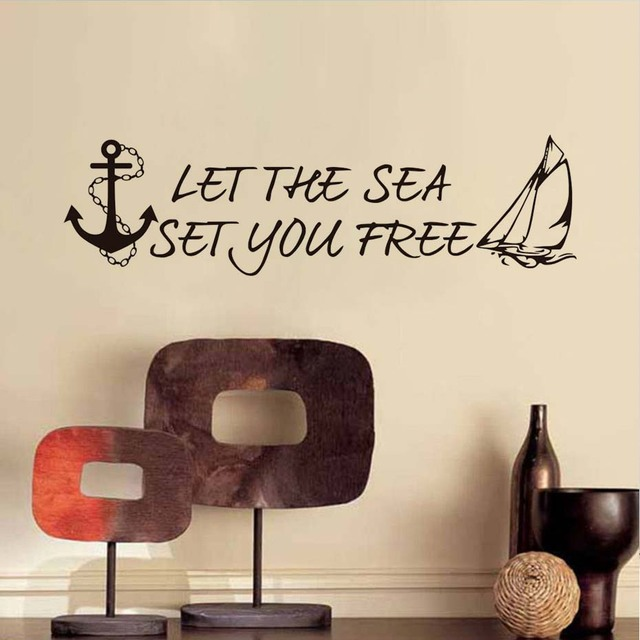 US $17 08 9% OFF Boat Anchor Quotes Vinyl Wall Stickers Home Decor Let The  Sea Set You Free Art Decals For Living Room Bedroom Decals Home Decor-in