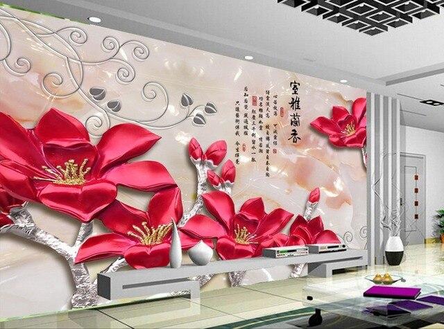 3d Peintures Murales Papier Peint Relief Orchidée Toile De Fond Moderne Salon  Papiers Peints Décoration De