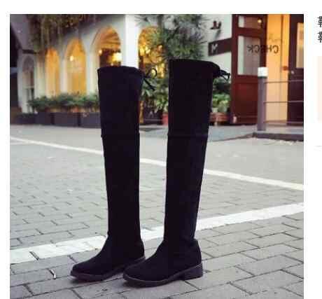 Plus กำมะหยี่ใหม่รองเท้าผู้หญิงรองเท้าสีดำเหนือเข่ารองเท้าบูทเซ็กซี่หญิงฤดูใบไม้ร่วงฤดูหนาว lady ต้นขาสูงรองเท้าขนาด 35-40