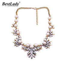 Best lady Fashion Fine Jewelry Bib Collar Chokers Simulated Pearls Vintage Crystal Flower Statement Necklace&Pendants Women 4546