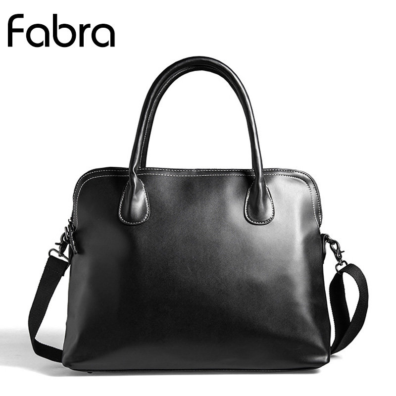 Fabra New Business Men Briefcase Bag Luxury Quality PU Leather 14 Inch Laptop Bag Vintage Man Big Capacity Shoulder Bags Black
