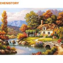 Chenistory fairyland paisaje diy kits de pintura dibujo pintura by números by números pintura acrílica sobre lienzo para la sala de arte
