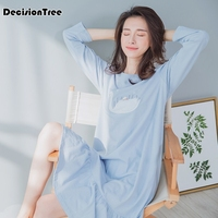 2019 new japanese 100% gauze cotton women night dress nightshirts long sleeves pyjamas women nightgown underwear dress sheer