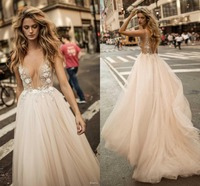 Custom Vestido De Noiva 2018 Bridal Champagne Summer Dresses for Wedding Sexy Backless V neck Bead Wedding Gowns robe de mariage