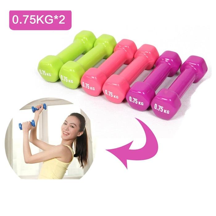 Plastik 0.75*2 kg içinde daldırma çok renkli dambıl çocuk ev fitness spor ekipmanları toptan için kylin spor