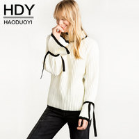 HDY Women Sweater Autumn Winter 2017 New Fashion Casual Solid Flare Sleeve White Sweater Pullovers Oversized