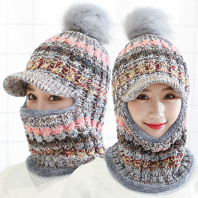Female Warm Beanie Hat Riding Snow Caps Winter Women Knitted Hat Scarf Set Hairball Pom Pom Fashion Wool Thickening Hat Collars