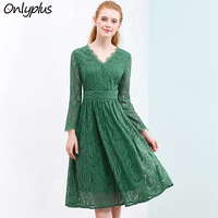 ONLY PLUS S XXL Green Lace Dresses For Women Holiday Spring Party Dress Wrist Sleeve V