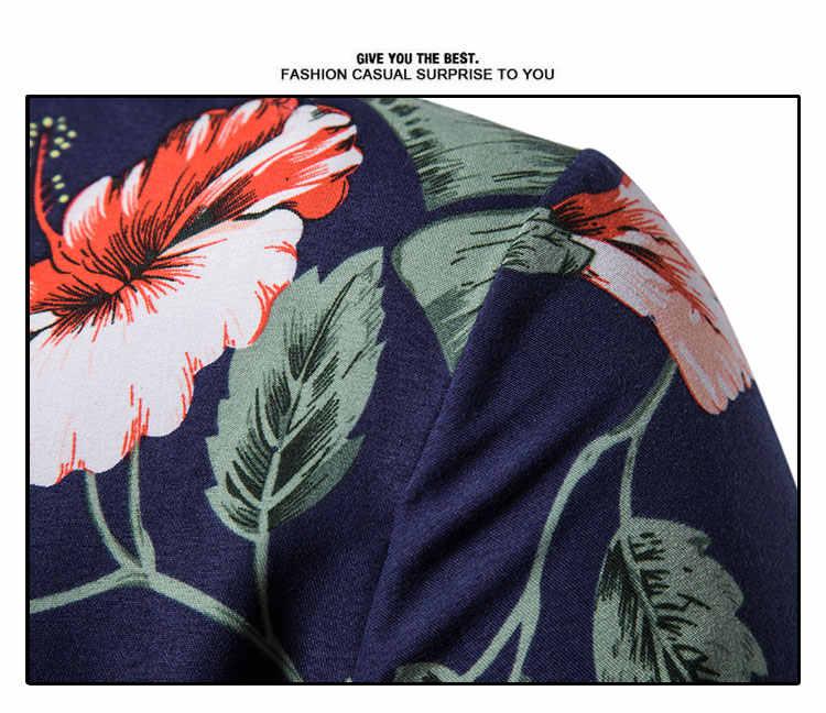 Мужская гавайская рубашка с цветочным принтом 2019, Модная приталенная рубашка с коротким рукавом, мужские повседневные топы для отдыха, рубашки для мужчин, Camisa Masculina