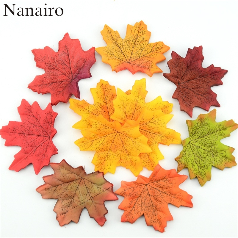 100pcs artificial silk maple leaves for home wedding party for Artificial leaves for decoration