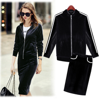 2015 Autumn Fashion Style Women Skirt Sport Suit Black Color Long Sleeve Jacket And Skirt Casual