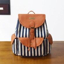 Женские винтажные рюкзак печать на холсте Женские полосатые рюкзак в богемном стиле для девочек школьная сумка Mochila drawstring сумка 6 видов цветов
