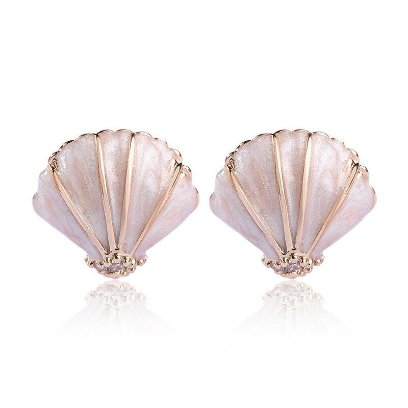 Blucome Elegant Shell Enamel Earrings For Women Girls Gifts Gold Color No Piercing Clips On Earring Orecchini Ear Cuff Bijuteria
