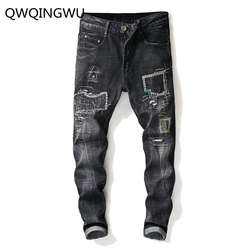 Men   Jeans   Stylish Pencil   Jeans   Pants Biker Skinny Slim Straight Frayed Denim Trousers New Fashion Skinny   Jeans   Men Clothes