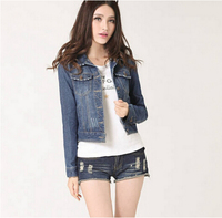 TFGS Women Jeans Jackets Short Tops 2016 Spring Autumn Long Sleeve Denim Coat Vintage Ripped For