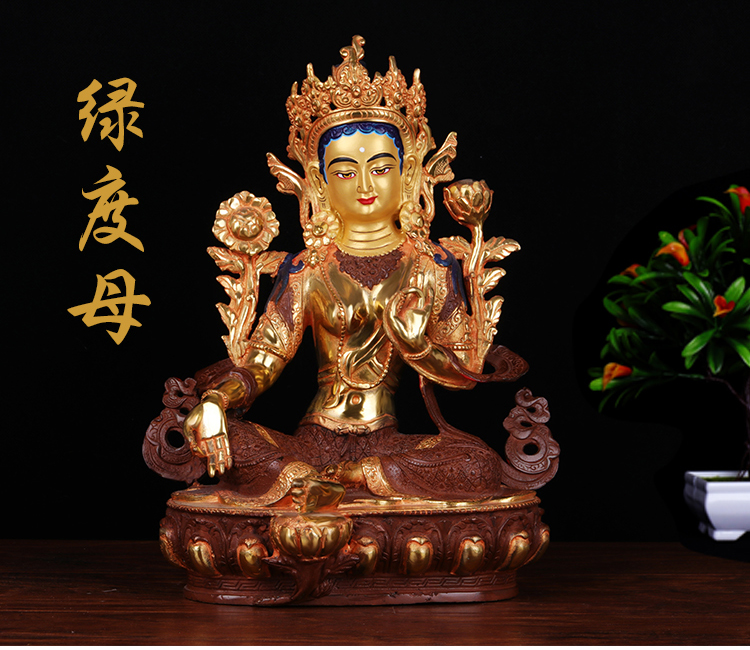 wholesale figure buddha # 12 inch -HOME efficacious Protection # Tibetan Nepal Buddhism Gilded gold Green Tara buddha statuewholesale figure buddha # 12 inch -HOME efficacious Protection # Tibetan Nepal Buddhism Gilded gold Green Tara buddha statue