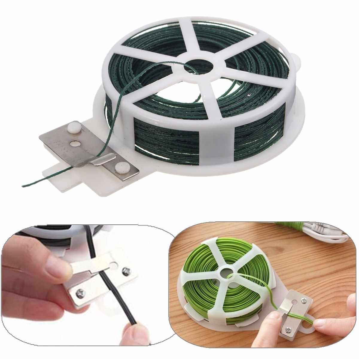 30m Roll Garden Wire Tie Wire Cable Reel With Cutter for Gardening Plant Bush Flower Reusable For Home Gardening Office