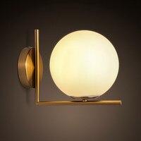 Nordic минималистский LED бра спальня ночники стенками из нержавеющей стали Круглые Стекло оттенок бра