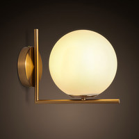 Nordic minimalist led wall lamp bedroom bedside lamp wall stainless steel round glass shade wall lamp