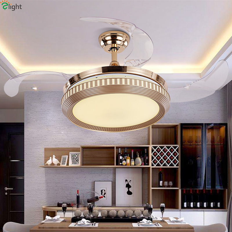 Straightforward Modern Invisible Abs Leaf Led Ceiling Fans Gold Steel Bedroom Led Ceiling Fan Lights Dining Room Dimmable Ceiling Fan Fixtures Big Clearance Sale Ceiling Lights & Fans