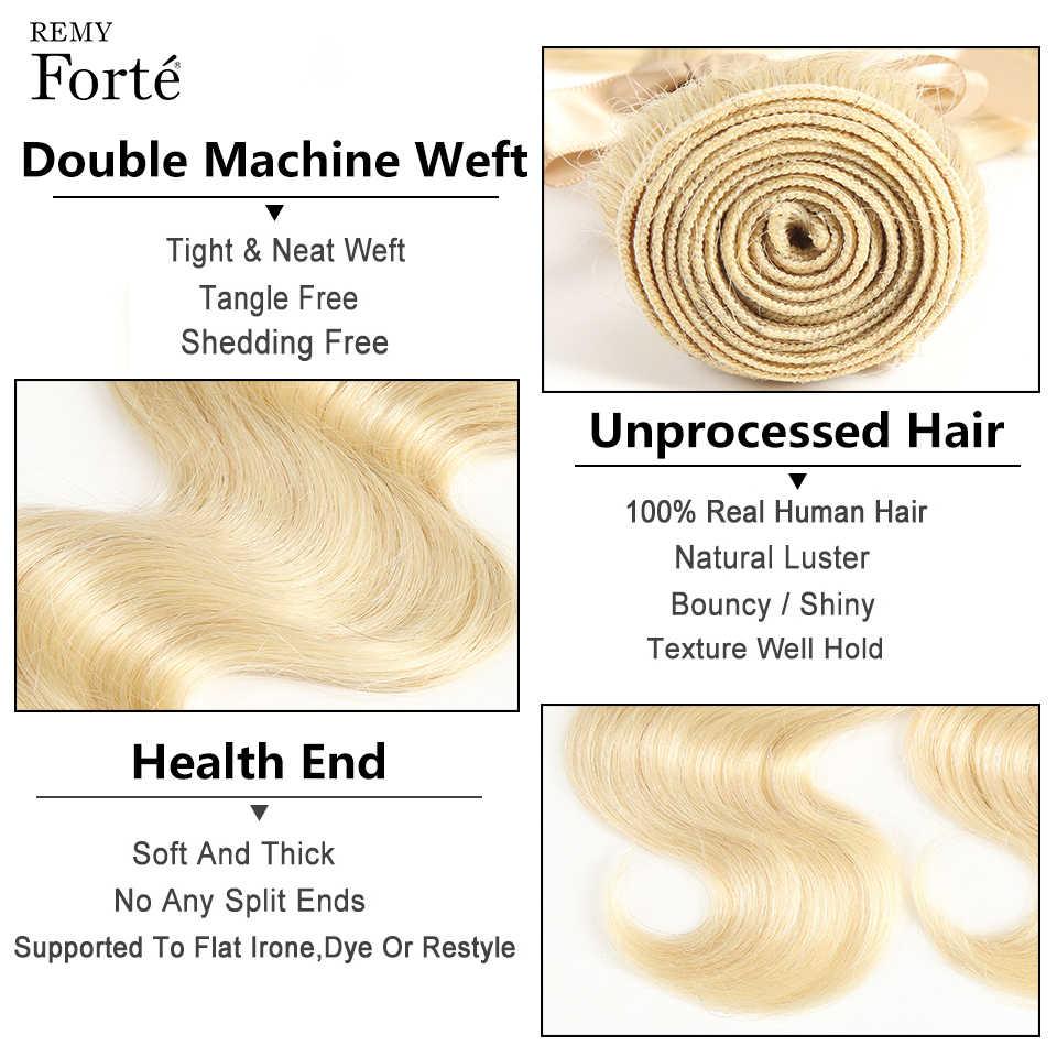 Remy Forte 613 пучки с закрытием объемные волнистые пучки с бразильские волосы с закрытием плетение пучки светлые пучки поставщики волос