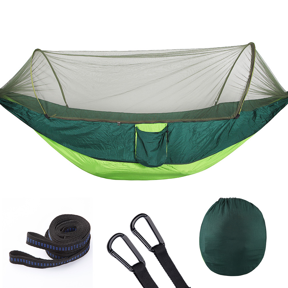 T 290X140cm Camping Hammock Mosquito Net Automatic Unfolding Parachute Hammock Hunting Outdoor Furniture Hanging Swing Chair