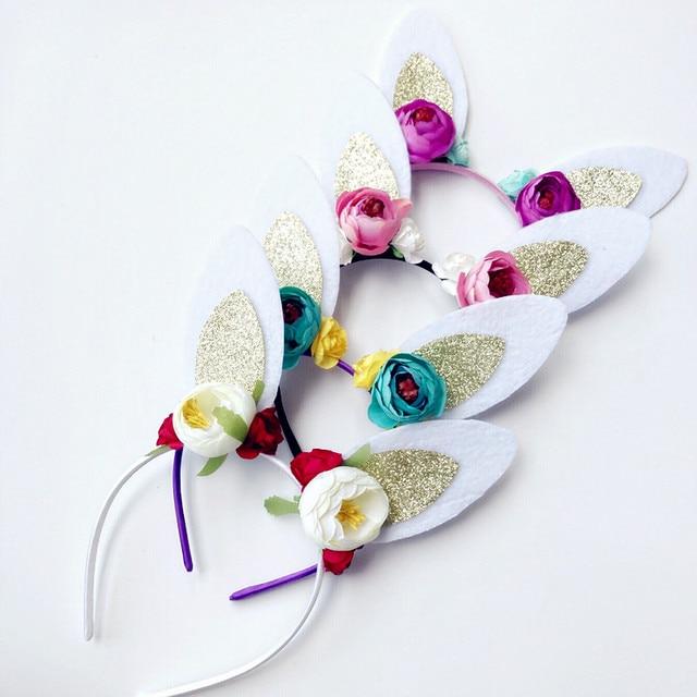Flores diadema cumpleaños aro del pelo del oído de conejo headwear ...