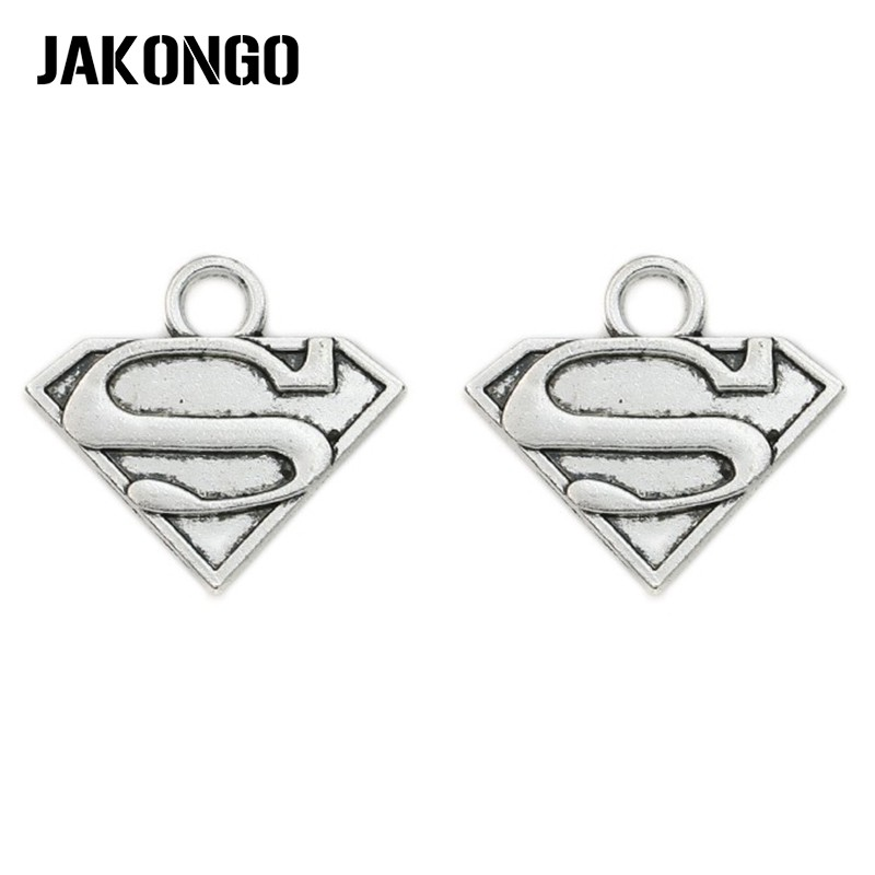 JAKONGO Antique Silver Plated Super Man Sign Charms Pendants Jewelry Findings Accessories Making fit Bracelet DIY 25x28mm