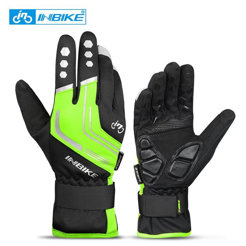 969 Green-INBIKE Touch Screen WinterWindproof Warm Full Finger Cycling Gloves