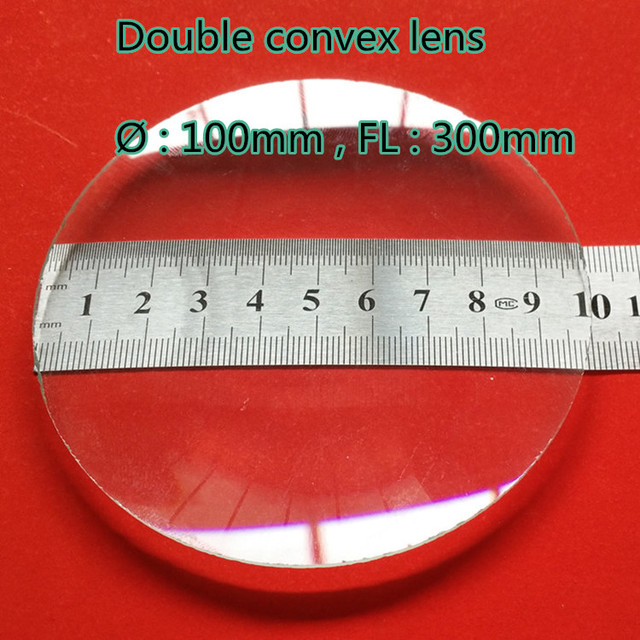 2c3929d88767 Double convex biconvex glass lens 100mm diameter 300mm focal length for  physical optical Experiment