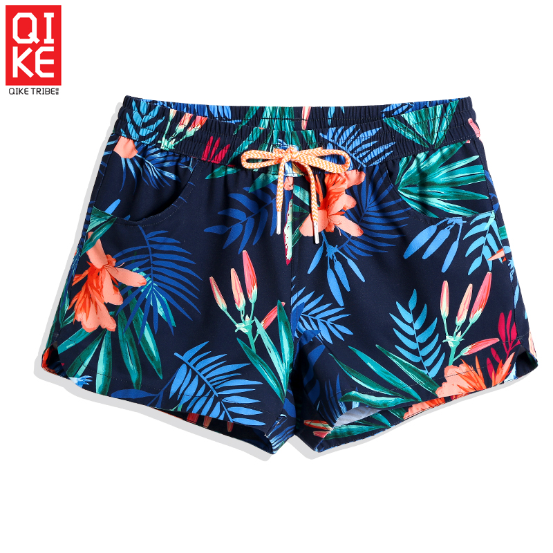 Female New Swimming trunks hawaiian swimsuit quick dry surfing printed tropical swimwear breathable briefs   board     shorts   mesh