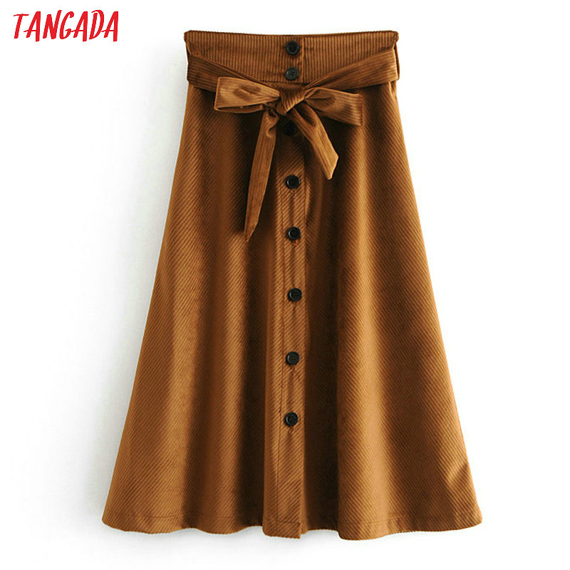 1cc8917f768 Detail Feedback Questions about Tangada women corduroy skirts high waist  bow tie belt button female vintage casual pleated midi skirt faldas mujer  6A66 on ...