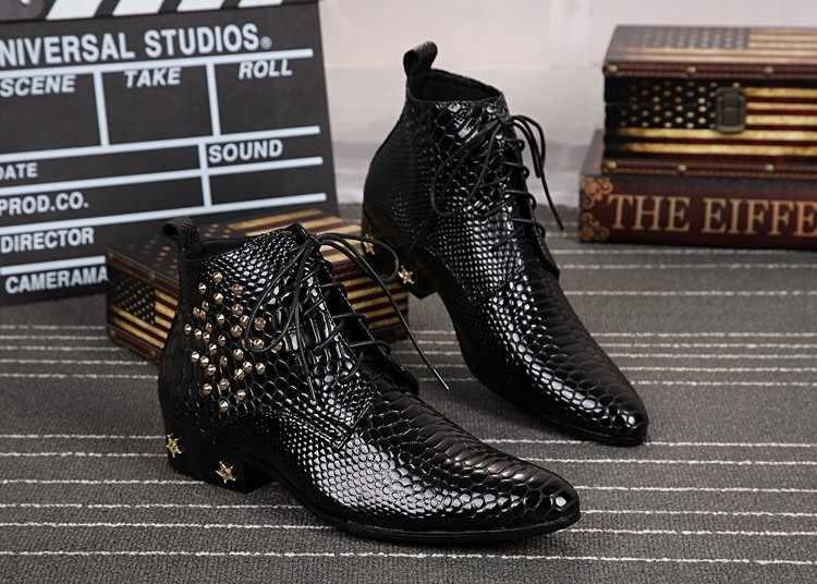Italy Real Leather Men Ankle Boots High Heel Men Cowboy Shoes Metal Tip  Studded lace up a56538e8ce7a7