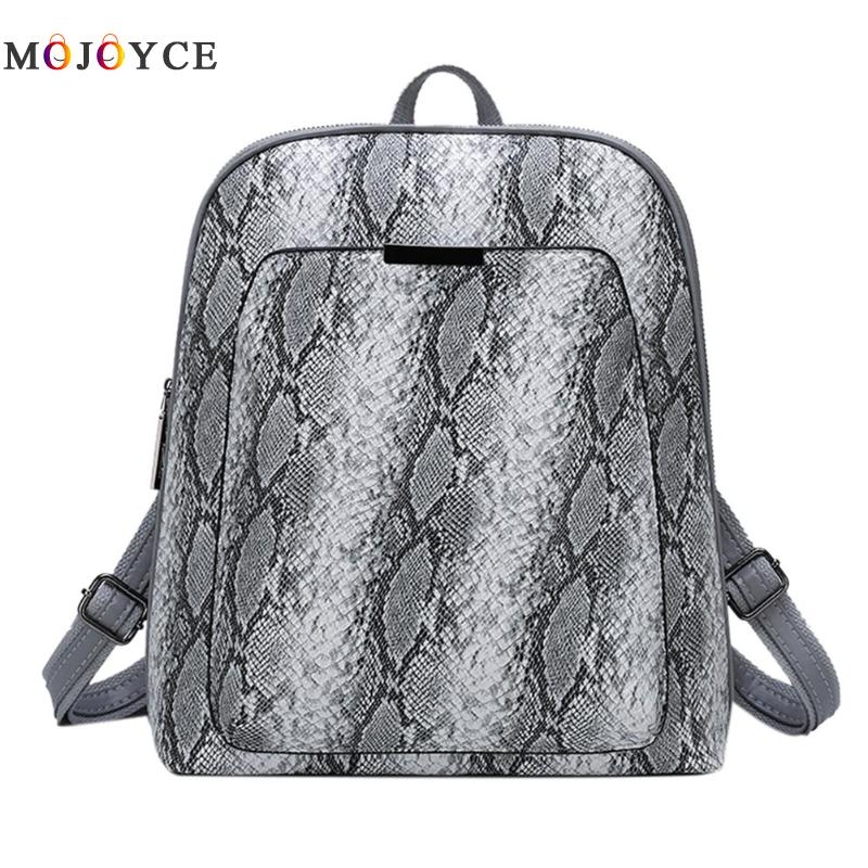 Snake Print Women Backpack PU Leather School Travel Small Fashion Serpentine Backpack Female