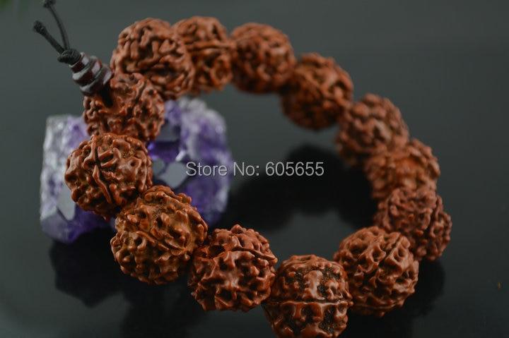 16 ~ 17mm stora Rudraksha pärlor Mala armband bön mans smycken 5 st per parti Gratis frakt polsk oljeplätering