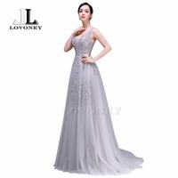 ANN DEER 2016 Hot Sale Sexy A Line V Neck Backless Tulle Long Evening Dress Gown