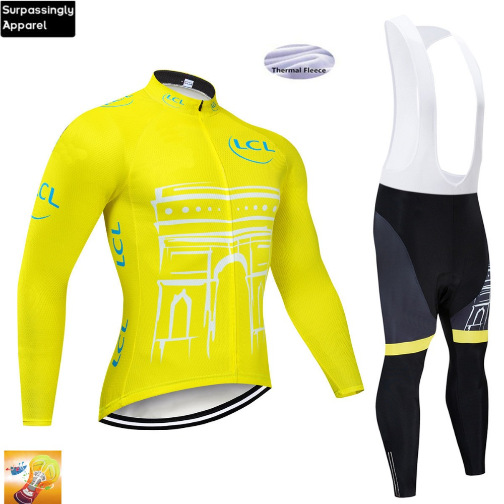 2019 Team Long Sleeve Cycling Set Winter Thermal Fleece Cycling Jerseys Ropa Maillot Ciclismo Bicycle Clothing in Cycling Sets from Sports Entertainment