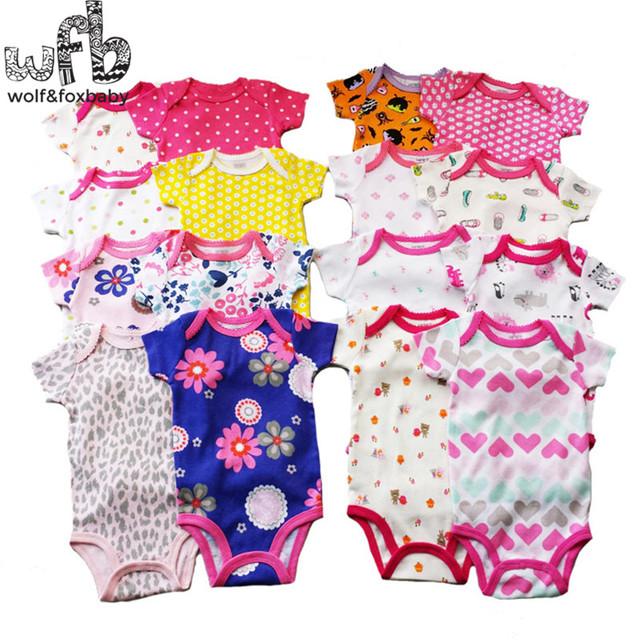 Varejo 0-2yrs 5 unidades/pacote curta-Mangas Compridas bodysuits para meninos meninas macacões Roupas de Bebê dos desenhos animados Infantil 2014 novo frete grátis