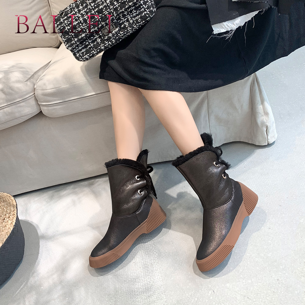 BALLEI Basic Woman Fashion Warm Ankle Boots Luxury Genuine Leather Round Toe Soft Heel Shoes Lace-up Casual Vintage Boots B171