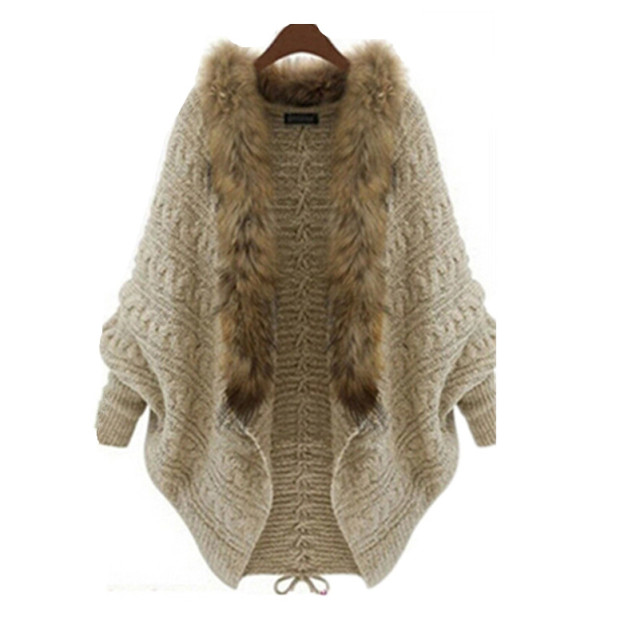 New Winter Fashion Knitted Cardigan Women Bat Cape Shawl Collar Fashion Female Faux Fur Coats Overcoat Outwear