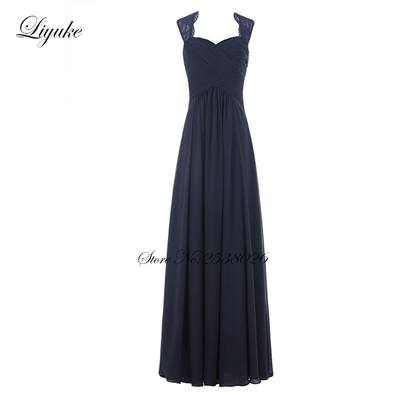 Liyuke Cap Sleeve Chiffon Sleeveless Long Formal   Dress   Simple Pleat   Bridesmaid     Dresses   A line New Arrival With Low Cost