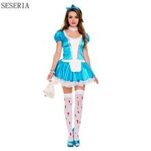 Seseria alice in wonderland party cosplay anime sissy maid uniforme dulce lolita dress adultos disfraces de halloween para las mujeres